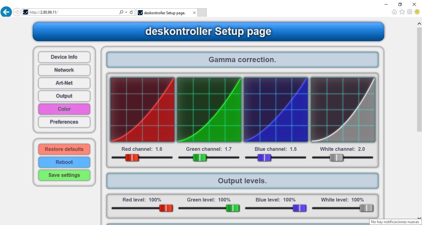 deskontroller-16 setup page color.